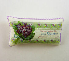 Dollhouse Miniature Artisan Savon Extra Fine Violets Label Pillow, 469