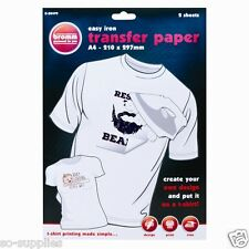 10 X A4 T SHIRT TRANSFER PAPER IRON ON LIGHT FABRICS HEAT PRESS INKJET PRINT