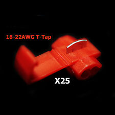 25x Red 22-18 AWG Scotch Lock T Tap Car Audio Electronics Connectors Terminals