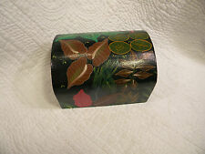 Vintage Black Lacquer Wood Trinket Jewelry Box Hand Painted,Leaves,Excellent