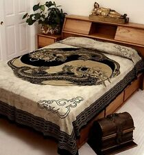 "Hippie Tapestry/Bedspread Yin Yang Dragon/Gold 88"" x 104"" Full Size SD098-01"