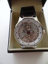 NIB Mens Carribean Joe Black/Silver Stainless Steel Watch Sale Japan Movt