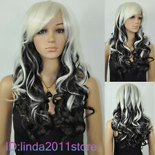 New Fashion black & white Halloween mixed long heat resistant wig/wigs