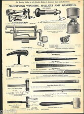 1904 ADVERT Watchmaker Jeweler's Tools Mainspring Winders Mallet Mandrel Oilers