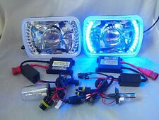 76-95 JEEP WRANGLER  HEAD LIGHTS 12000K HID PROJECTOR BLUE LED HEADLIGHTS H4