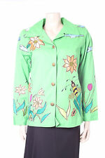 Vibrant Green Ladies Jacket Size XS Quackers Factory Embroidered Top uk 8 10 12