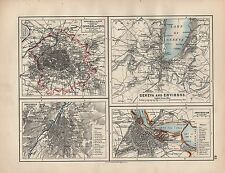 1898 VICTORIAN MAP ~ ENVIRONS OF PARIS GENEVA BRUSSELS AMSTERDAM