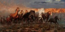 "Canvas Print Animals Horses Oil painting Picture Printed on canvas 16""x28"" P469"