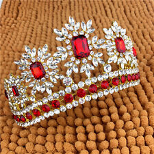 Pageant Red Crystal Headband Queen Crown Wedding Bridal Tiaras Hair Accessories