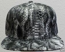 GREY SILK PRINTED FAUX SNAKESKIN ALLIGATOR CROCODILE GATOR CROC SNAPBACK CAP HAT
