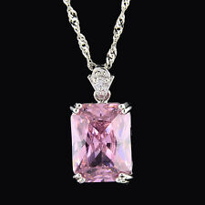 Pendant Rectangle White Gold Plated Cubic Zirconia Free Necklace