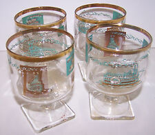 4 Vtg Libbey Southern Comfort Rocks Steamboat Cocktail Glasses Square Bottom HTF