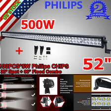 500W PHILIPS 52INCH LED WORK LIGHT BAR COMBO SPOT&FLOOD DRIVING OFFROAD BAR 4WD
