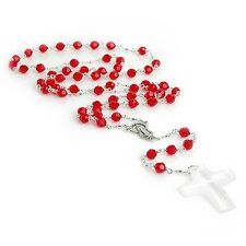 6mm Red Swarovski Bead Crystal Necklace Rosary