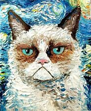 "GRUMPY CAT VAN GOGH ""STARRY NIGHT""  Image Gloss Print A4 Poster Laminated"
