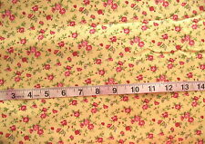 "100% Cotton Fabric ""Windermere Yellow Floral"" by MODA, Red/Pink Flowers"