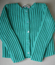 BONPOINT BABY TURQUOISE COTTON KNIT CARDIGAN 18 MONTHS
