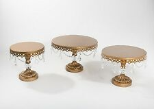 Opulent Treasures Gold & Crystal Ball Base Chandelier Cake Plates Set of 3