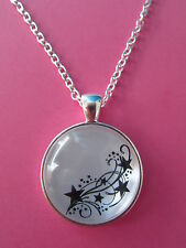 Shooting Stars Black and White Silver Pendant Glass Necklace New in Gift Bag
