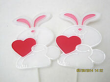 Floral Picks BUNNY WITH RED HEART Valentine's, Love, Any Occasion Pk/12!