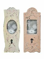 2 X FRENCH PAINTED PHOTO FRAMES WOODEN SHABBY VTG CHIC ANTIQUE DOOR TOUCHPLATE