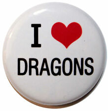 "1"" (25mm) ' I LOVE DRAGONS ' Button Badge PIn - High Quality"