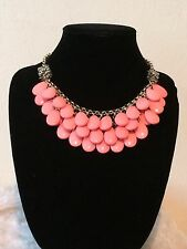Gorgeous Faceted Glass Accented Coral Color Briolette Bib Necklace