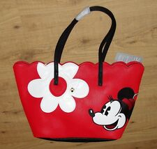 Disney Store Tote Bag Girly Flower Minnie Mouse Red white Flowe Handbag Shopper