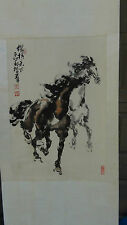 "ANTIQUE CHINESE WATERCOLOR ON PAPER SCROLL PAINTING'RUNNING HORSES""ARTIST SEAL"