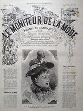 LE MONITEUR DE LA MODE 1891 N 50 CHAPEAU PETRUCCIO. DESSIN DE J. ROCAULT