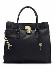 NWT Michael Kors Hamilton Large NS Tote Leather Bag Black / Gold $358