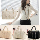 Fashion Vintage Women PU Leather Messenger Bag Tote Shoulder Bag Lace Handbag