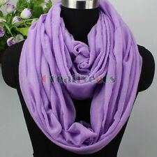 Women's Fashion Scarves Solid Color Shiny Glitter Ladies Long/Infinity Scarf New