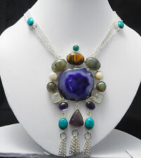"""ANTIC TRADITIONAL MIX GEMSTONE STERLING SILVER OVERLAY PENDANT NECKLACE SIZE 18"""""""