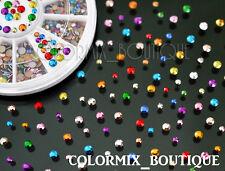 2 Sizes Colorful Diamond Facet Rivets Nail Art Decoration Mixed Color Studs #S11
