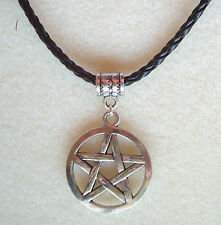 Large Pentagram Plaited Leather Thong Necklace - Witch Pagan Goth