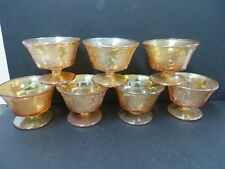 Normandie Bouquet and Lattice Sherbert Dishes (7) Iridescent Depression Glass