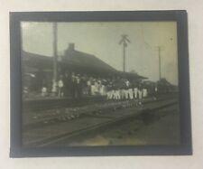EARLY 1900 GLASS NEGATIVE LIRR STATION SAYVILLE LI NY TOURNAMENT