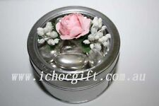 10 x Small Round Clear Window Silver Tin Bomboniere Boxes 7.5cm diametre