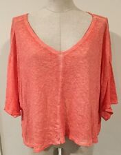 We The Free People Anthropologie Womens Shirt Medium M Orange Shirt Sleeve Crop