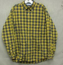 Z7928 Men's Tommy Hilifiger Yellow/Blue Plaid Button Down Shirt-Large