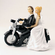 Custom Personalized Motorcycle Bride and Groom Silhouette Wedding Cake Topper