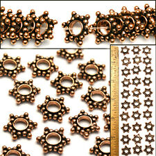 XL 14mm Bali Style 100% SOLID COPPER Flat Rondelle LG HOLE STAR Spacer Beads 30