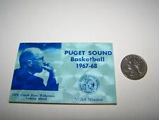 1967-68 PUGET SOUND BASKETBALL POCKET SCHEDULE COLLEGE UNIVERSITY OF LOGGERS