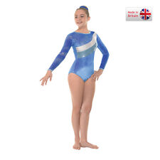 Royal long sleve velvet and foil gymnastics/dance leotard (31) -size 1  Age 6-7