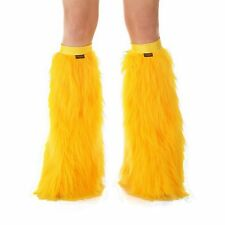 Yellow Gold Boot Cover Leg Warmers Rave Fluffies / Yellow Band Halloween