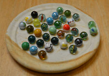"VINTAGE 12"" SOLITAIRE HAND TURNED SANDSTONE GAME BOARD 35 MARBLES FREE PRIORITY"