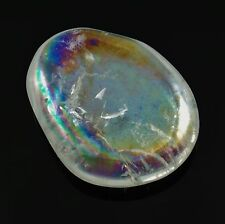 OPAL AURA QUARTZ Flat Polished Palm Stone Rainbow Colors w/Healing Property Card