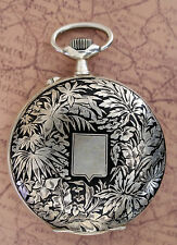 Hebdomas Full Hunter Niello Silvered Beautiful Floral Decorated Pocket Watch