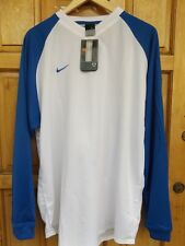NIKE LONG SLEEVE MEN`S FOOTBALL JERSEY SHIRT WHITE & BLUE SIZE XXL TOP - NEW